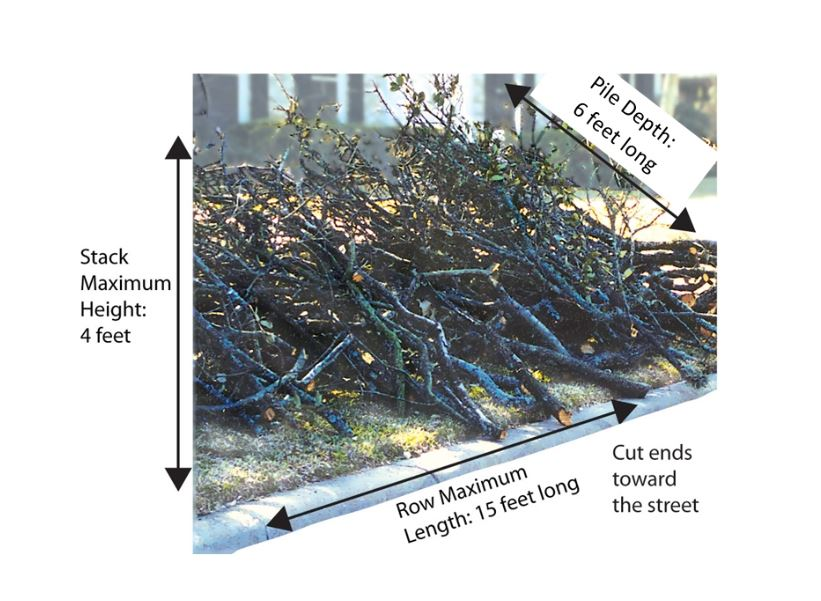brush pile with measurements