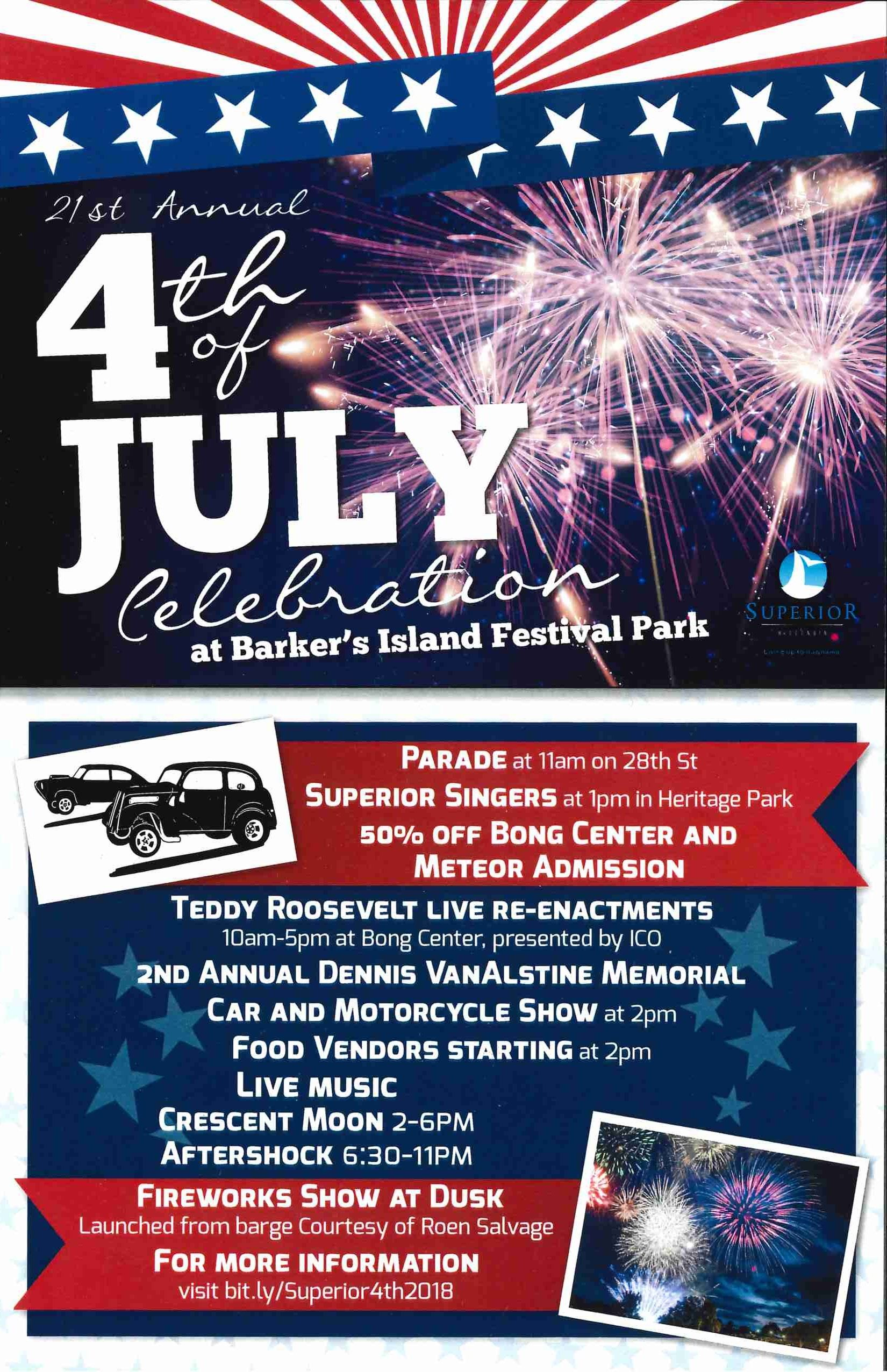 4th of July poster with schedule of events