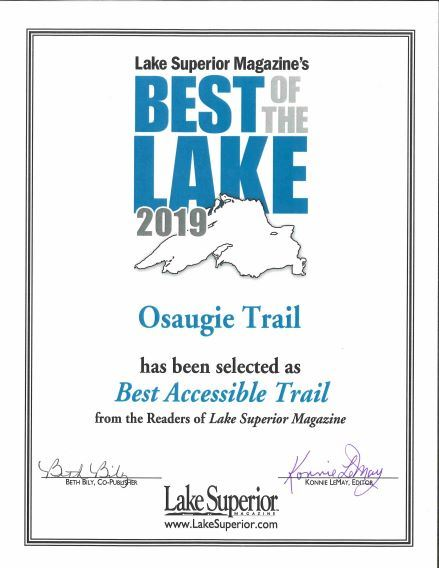 Picture of award by Lake Superior magazine naming Osaugie Trail best accessible trail