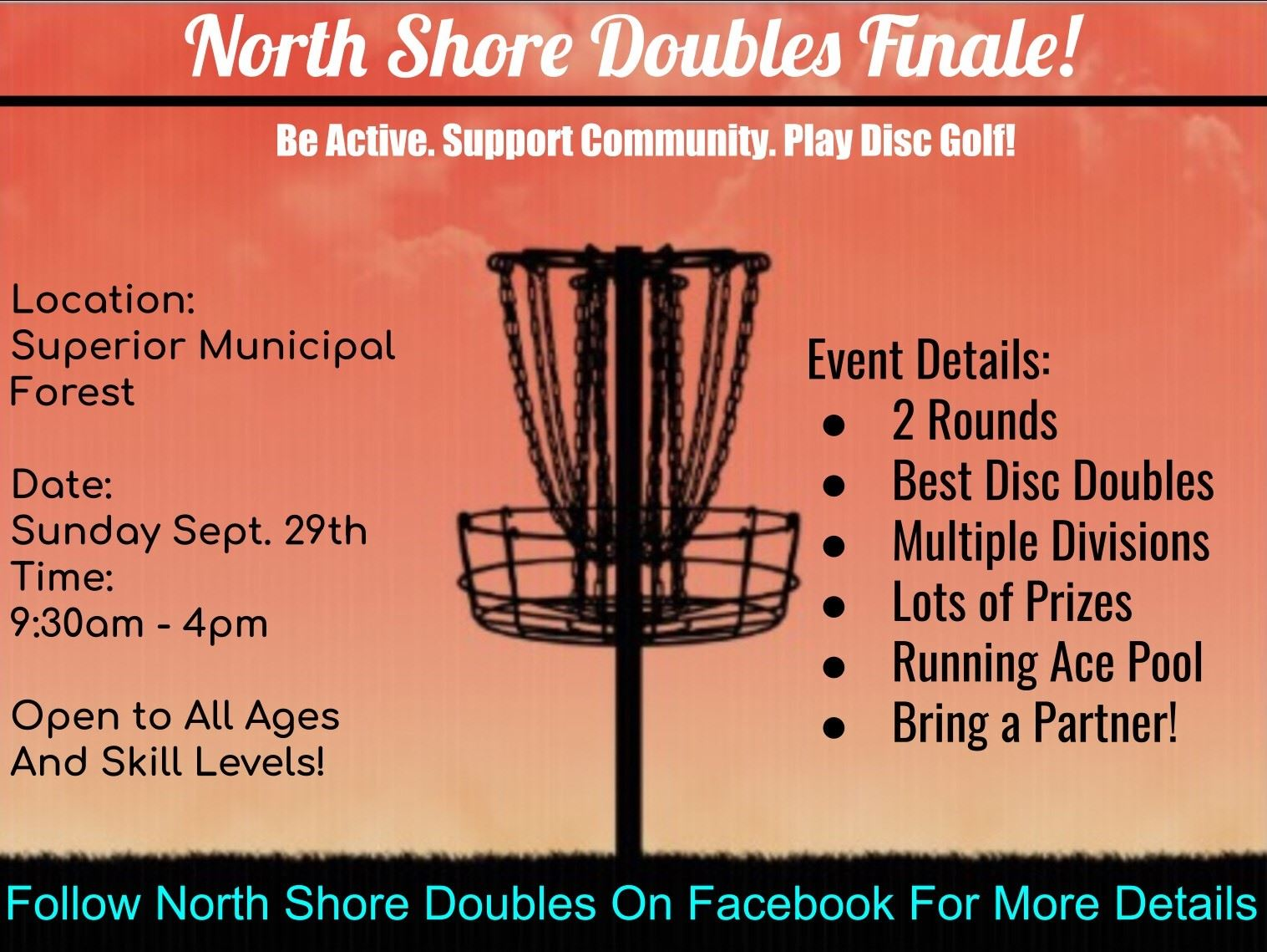view the flyer for the north shore doubles disc golf tournament to be held at the Superior Municipal