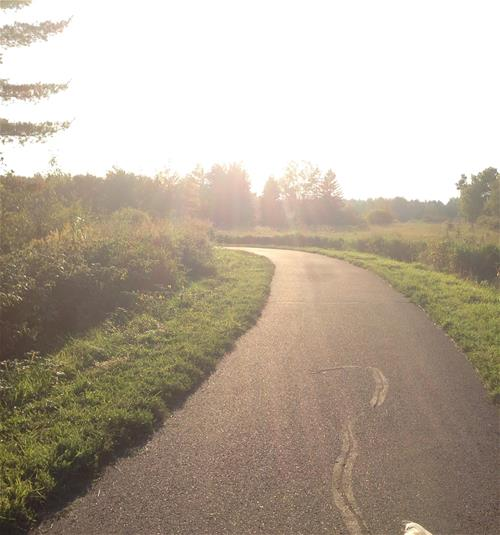 Millenium Trail showing sun setting over paved trail
