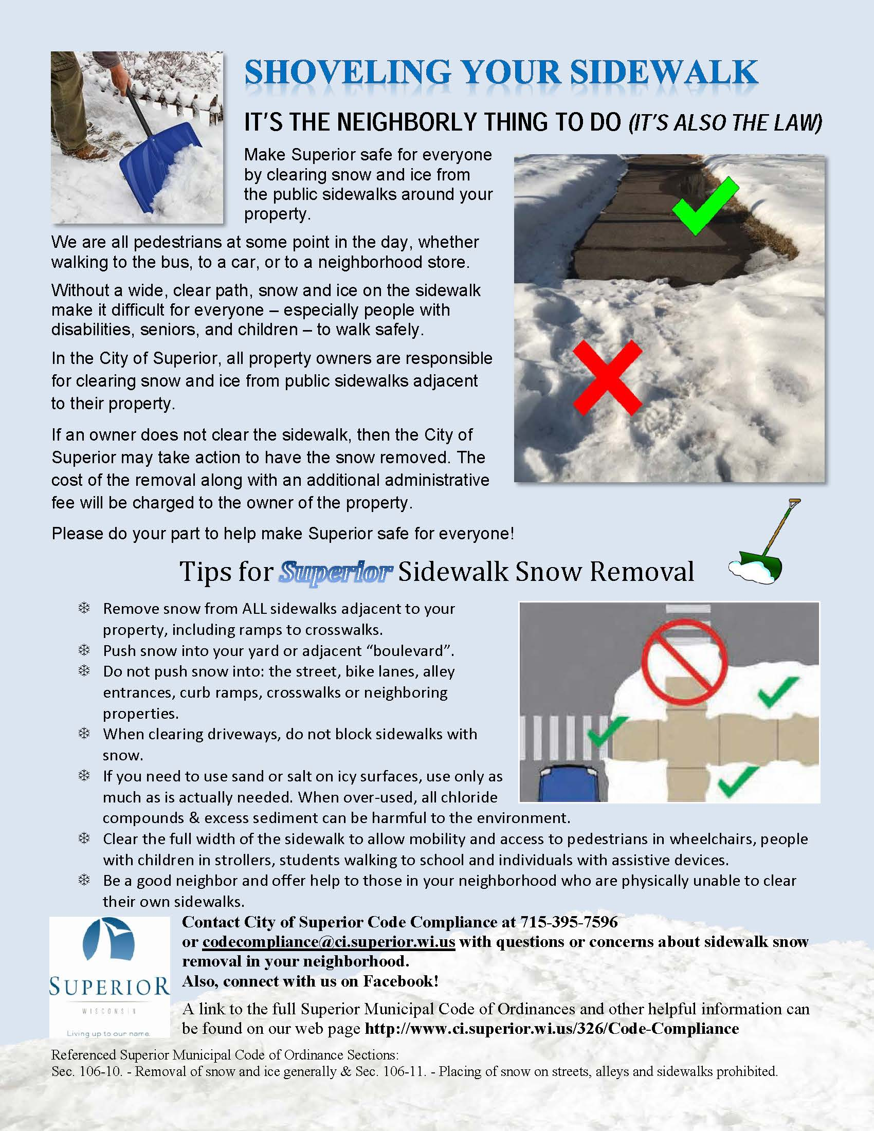instructions for removing snow from city sidewalks