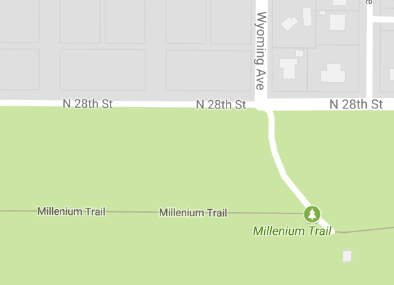 Map showing location of Millennium trailhead  28th Street & Wyoming Avenue