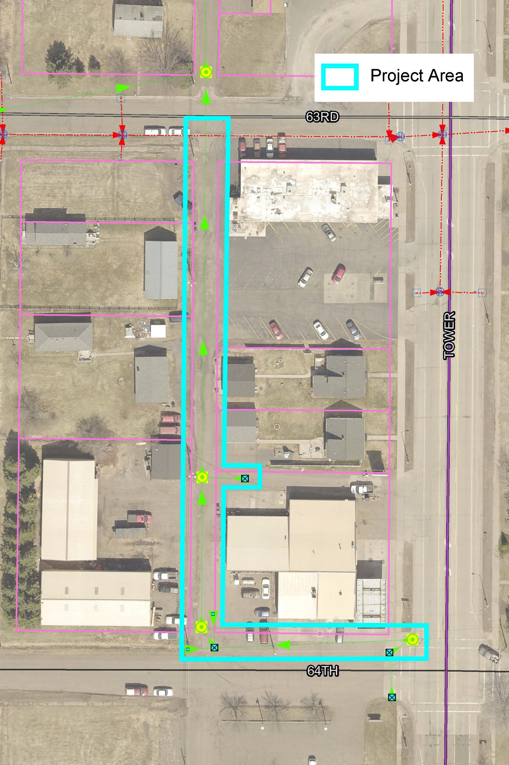 Satellite photo of project area on North 64th Street