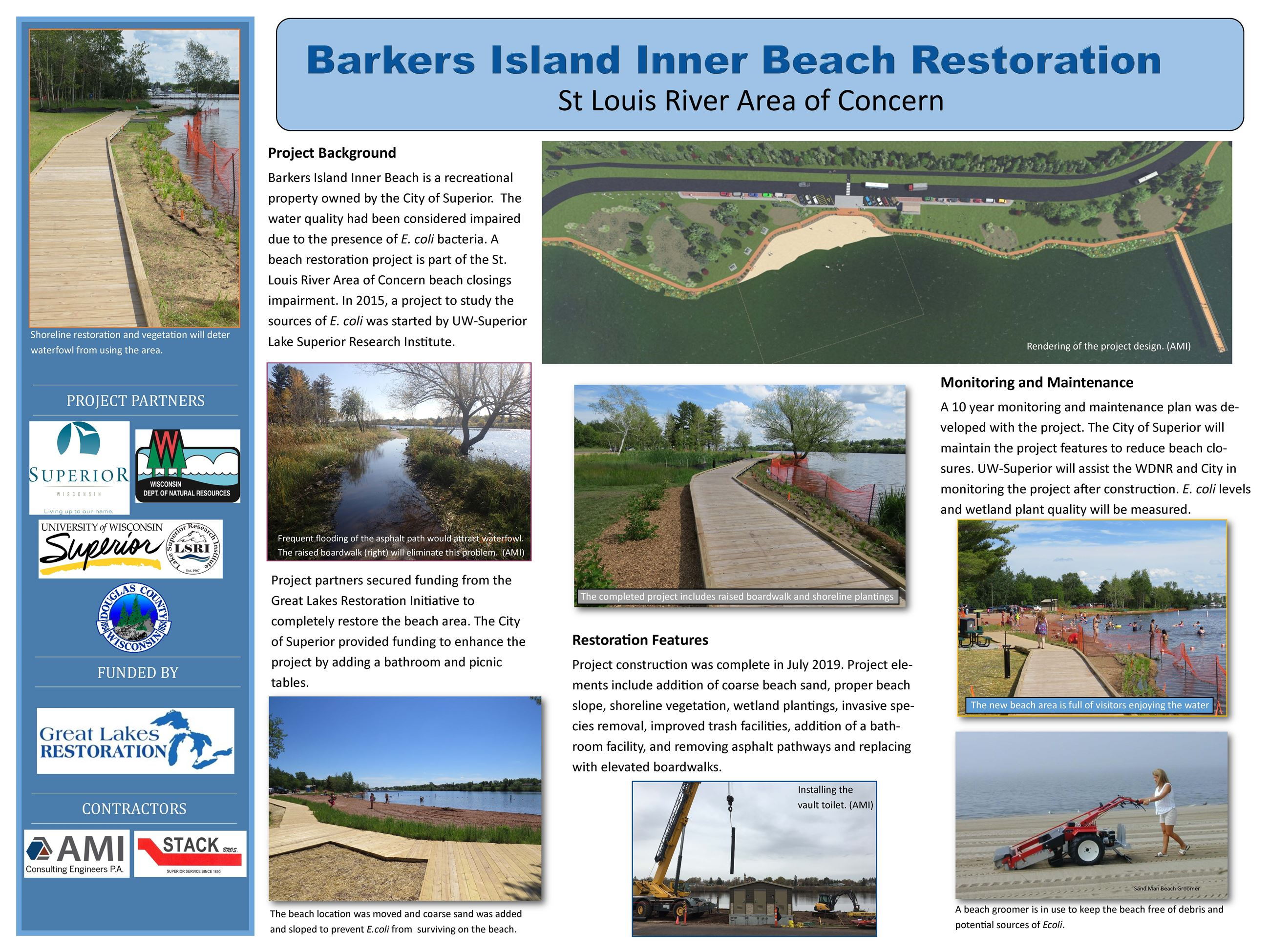 Barkers Island Poster with the project background